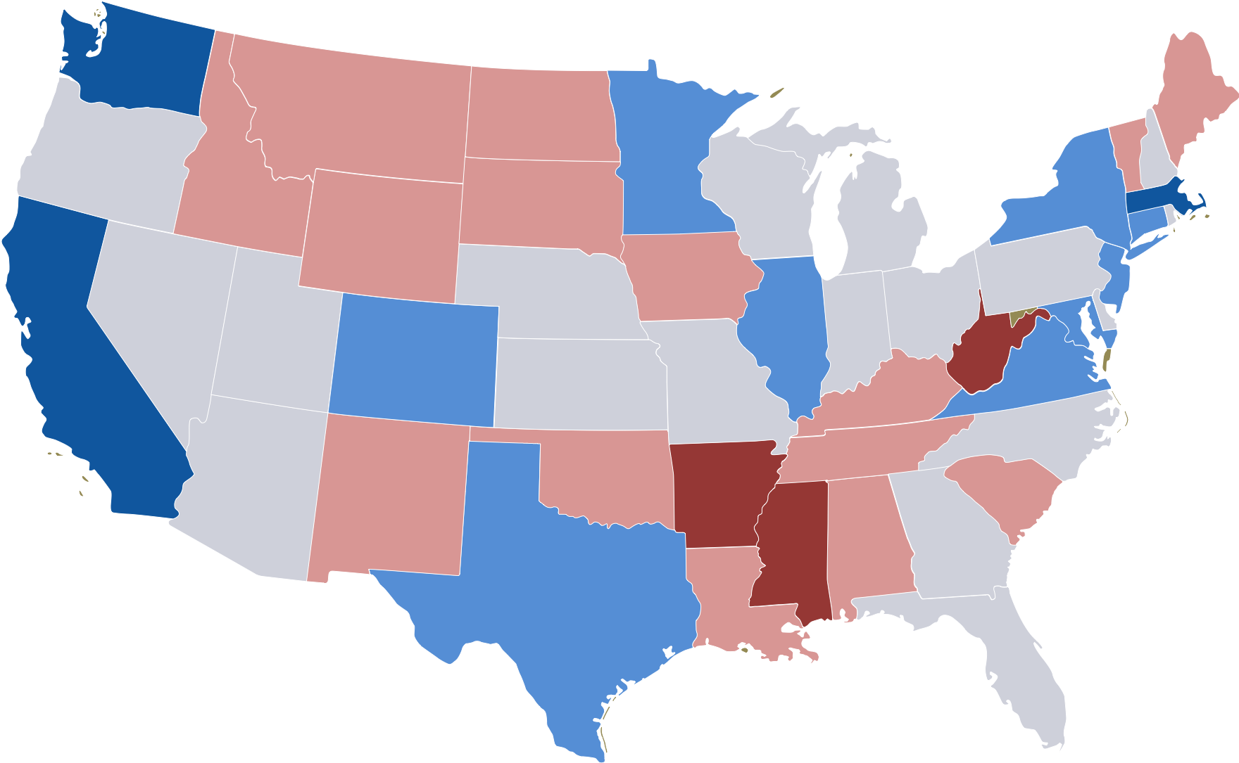 United States map showing cost of living